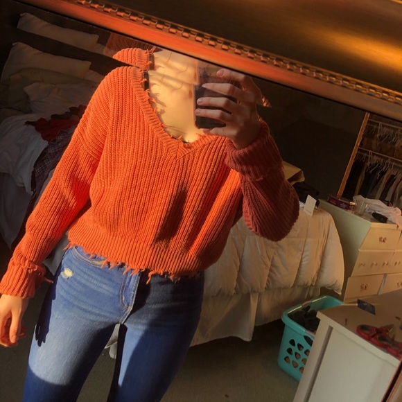 Orange distressed cropped shirt